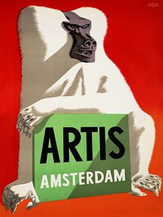 Vintage Travel Poster - Artis - Zoo Amsterdam - Holland by Eppo Doeve, Vintage Advertising Posters, Vintage Travel Posters, Vintage Advertisements, Poster Vintage, Advertising Design, Vintage Ephemera, Vintage Ads, Classic Wall Stickers, Tourism Poster