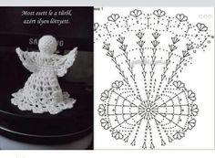 Lady With Crochet Male Aniolki Crochet Snowflake Pattern, Christmas Crochet Patterns, Crochet Snowflakes, Holiday Crochet, Crochet Motif, Crochet Christmas Decorations, Crochet Ornaments, Crochet Decoration, Angel Ornaments