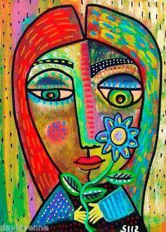 Abstract Art as well as I. – Buy Abstract Art Right Cubist Portraits, Portrait Art, Abstract Flowers, Abstract Art, Sandra Silberzweig, Hamsa Art, 6th Grade Art, Art Sculpture, Cardboard Art