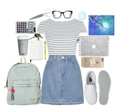"""Going to school in my new sneakers"" by purple-queen-101 ❤ liked on Polyvore featuring Vans, New Look, Topshop, Billabong, Casetify, Kate Spade, Avon, Casio, Spitfire and Fitz and Floyd"