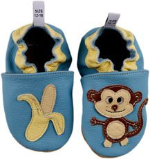 Dimbo world Schühchen Affe Alexi und seine Banane hellblau