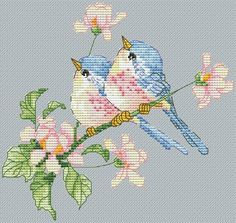 Птички. Дизайнер: Алиса Окнеас Tiny Cross Stitch, Cross Stitch Animals, Cross Stitch Flowers, Cross Stitch Designs, Cross Stitch Patterns, Christmas Embroidery Patterns, Hand Embroidery Patterns, Cross Stitching, Cross Stitch Embroidery