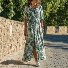 Nadafair Tie Waist Midi Boho Floral Summer Dress Women V Neck Sash Buttons A-Line Long Chiffon Shirt Dress Chiffon Floral, Vestido Maxi Floral, Boho Floral Maxi Dress, Vestido Casual, Chiffon Shirt Dress, Long Sleeve Shirt Dress, Collar Dress, Tunic Shirt, Dress Long