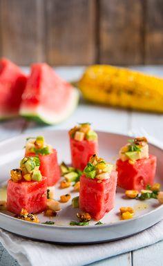 #Recipe: Grilled Watermelon, Corn and Avocado Salad #VeganRecipes #Salads
