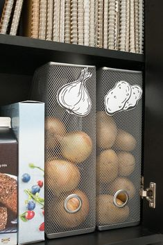 interesting use of metal magazine holders Our favorite IKEA hacks of all time. Everything from IKEA beds, to standing desks to dining tables. DIY furniture projects for every room. Diy Kitchen Storage, Kitchen Pantry, Diy Storage, Kitchen Hacks, Pantry Storage, Kitchen Cabinets, Smart Storage, Storage Design, Pantry Room