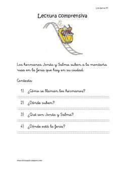 Lina García PT                          Lectura comprensivaLos hermanos Jonás y Salma suben a la montañarusa en la feria q... Spanish Vocabulary, Spanish Language Learning, Spanish Class, Teaching Spanish, Kids English, Bilingual Education, Critical Thinking, Reading Comprehension, Writing