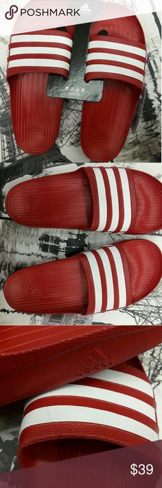 Adidas men's slides MEN ADILETTE ADIDAS WHITE/Red   ITEM DESCRIPTION  ADILETTE.  This product is 100% authentic. Seller has removed certain product code information from the item tag. adidas Shoes Sandals & Flip-Flops