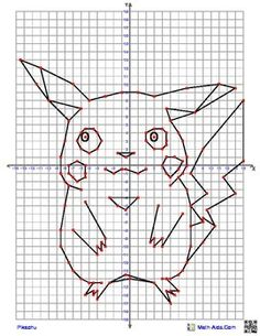 Pikachu from Pokemon Coordinate Graphing Picture4 quadrant graphing picture from Math-Aids.com