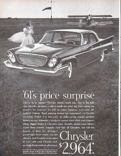 "Description: 1961 CHRYSLER NEWPORT vintage magazine advertisement ""price surprise"" -- 61's price surprise ... This is the full-size Chrysler Newport -- with a small-size price tag that's taking the country by surprise! ... And it's made even easier to own with your Chrysler dealer's high-flying trade-in allowance. -- Size: The dimensions of the full-page advertisement are approximately 10.5 inches x 13.5 inches (26.75 cm x 34.25 cm). Condition: This original vintage full-page advertisement…"