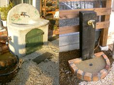 このお庭に合うオリジナルガーデンシンク(左)、机木立水栓(右)を設置。水道だって素敵に造ります。