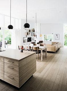kitchen + dining + living in one space