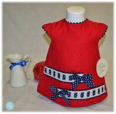 Dolce Petit -Vestidos colección navi, color rojo en bebe-