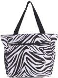 World Traveler Zebra Print Travel Tote Bag, Black and White