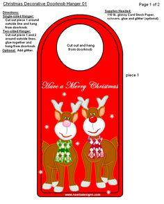 FREE Printable Christmas Door Knob Hangers Christmas Ideas - Free printable door knob hanger template