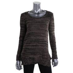 Style & Co. Womens Metallic Crochet Tunic Sweater