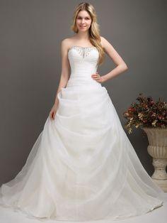 Elegant A-Line Strapless Chapel Train Organza Wedding Dress - Lily White - Designers Camo Wedding Dresses, Wedding Attire, Homecoming Dresses, Bridal Dresses, Fox Wedding, Chic Wedding, Country Style Wedding, Country Weddings, Wedding Poses