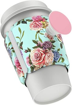 Amazon.com: PopSockets PopThirst: Cup Sleeve and Swappable Grip - Retro Wild Rose Cup Sleeve, What In My Bag, Amazon, Retro, Rose, Sleeves, Amazons, Pink, Riding Habit