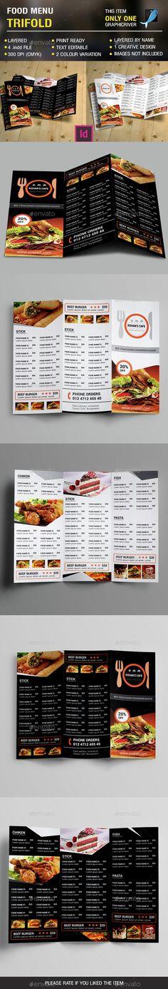 Food Menu Trifold Brochure Template InDesign INDD. Download here: http://graphicriver.net/item/food-menu-trifold-vol-2/14633902?ref=ksioks