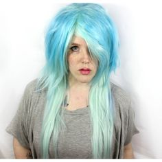 SPRING SALE Light Blue wig. Pastel Blue wig. Mint Green wig. Pastel... ($69) ❤ liked on Polyvore featuring beauty products, haircare, hair styling tools, straightening iron, straight iron, flat iron and styling iron