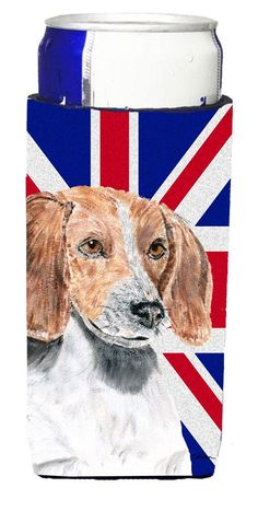 English Foxhound with English Union Jack British Flag Ultra Beverage Insulators for slim cans SC9858MUK