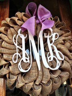Burlap Wreath - Etsy Wreath - Initial Wreaths for door - Spring Door wreath - Monogram Wreath - Vine Custom Monogram  on Etsy, $90.00