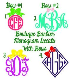 DIY Vinyl Monogram Decal with Bow by BoutiqueBarbier on Etsy