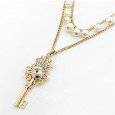 Chic Multi-Layered Style Pearl and Gem Embellished Crown Key Pendant Necklace For Women