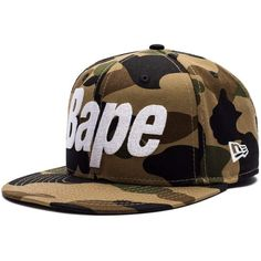 1ST CAMO BAPE NEW ERA SNAP BACK CAP ❤ liked on Polyvore featuring accessories, hats, camo hats, snapback hats, a bathing ape hat, camouflage snapback hat and camo snapbacks
