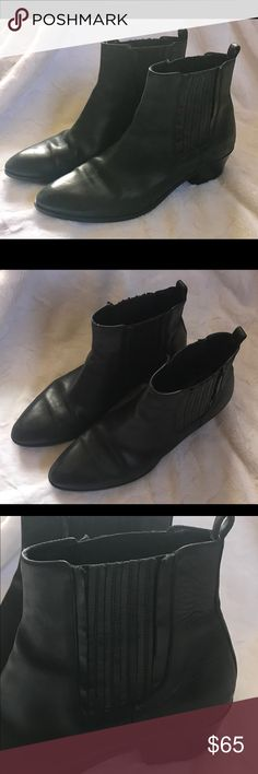 "JCrew Black Booties JCrew Black Booties Used Condition.  Soles are slightly worn, but overall good condition! Stretch Ankles Heel height: 1 1/2"" Boot Shaft: 5"" J. Crew Shoes Ankle Boots & Booties"