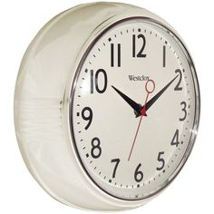 "Westclox Retro White Kitchen 9.5"" Wall Clock Second Hand Battery from US Seller #Westclox"