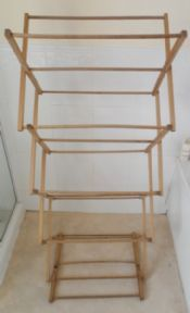 Vintage Washing Laundry Large Wooden Concertina Clothes Maiden Horse Airer Circa 1970s