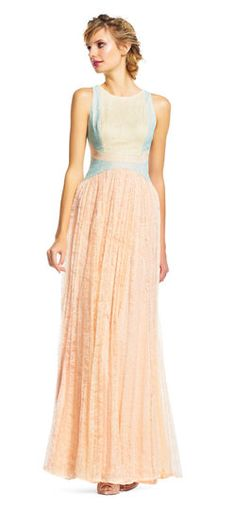 Adrianna Papell | Sleeveless Colorblock Chantilly Lace Dress with Pleated