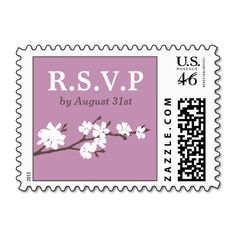 Wedding RSVP Postage Stamps | Soft Violet Purple with White Floral Branch