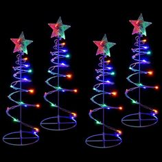 WeRChristmas Spiral Trees Christmas Lighting 8 Function Controller, 55 cm - Multi-Colour, Set of 4 Spiral Christmas Tree, Spiral Tree, Christmas Night, Outdoor Christmas, Led Rope Lights, Icicle Lights, Led Fairy Lights, Christmas Tree Decorations, Coaching