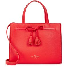 KATE SPADE NEW YORK Hayes Street Isobel Small Leather Tote (€330) ❤ liked on Polyvore featuring bags, handbags, tote bags, red tote, leather purses, red leather handbags, leather tote handbags and kate spade tote bag