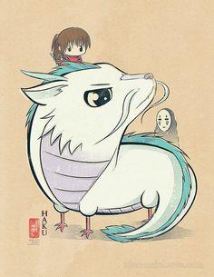 Chibi Ghibli Print Haku Spirited Away by idrawrainbows on Etsy