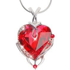 Amazon.com: Red Heart Shaped Pendant Necklace with Brilliant Swarovski... ($70) ❤ liked on Polyvore featuring jewelry, necklaces, platinum jewelry, crystal jewelry, red pendant necklace, heart jewelry and red crystal necklace