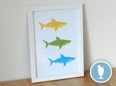 3 Sharks print by LastSundae on Etsy, £12.00