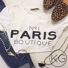 """No1 Paris Boutique Tee In great pre-owned condition! •Women's size S •From Brazilian brand Talita Kume •95% Cotton, 5% Elastane •19"""" from underarm to underarm, 24"""" from shoulder to hem no trades nor lowball offers Thank you for shopping in my closet! Tops Tees - Short Sleeve"""
