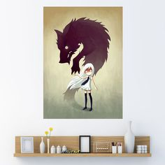 Anime Girl and Wolf Wall Sticker Decal – Werewolf by Indre Bankauskaite