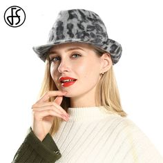 9ec1927dcf8 ... Buy Directly from China Suppliers FS Gray Wool Leopard Print Wide Brim  Fedora Hat For Lady Royal Vintage Church Hats Women Elegant Felt Bowler Top  Cap ...
