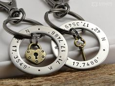 Lock / Key in Ring Keychain