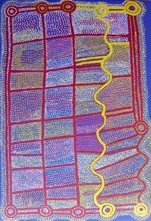 Shorty Jangala Robertson  Ngapa Jukurrpa (Water Dreaming)  Acrylic on Linen, 2006  183 x 122 cm