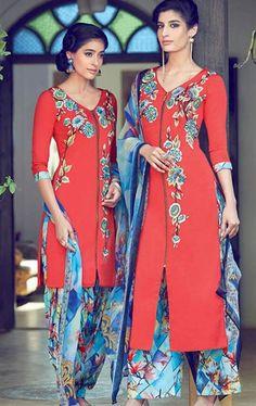 Mesmerizing Red Cotton Salwar Kameez
