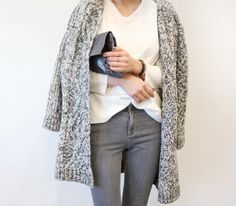 Grey cardigan + grey jeans