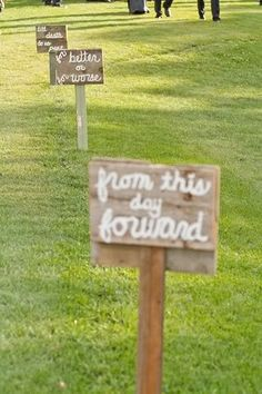 "Cute idea for outdoor wedding - signs going down aisle to the chairs. The front are wedding vows, backs say ""and they lived happily ever after"". Wedding Vows, Wedding Bells, Wedding Events, Rustic Wedding, Our Wedding, Dream Wedding, Weddings, Handmade Wedding, Outdoor Wedding Seating"