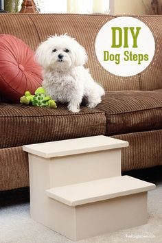 Create these DIY Dog Steps for older or smaller dogs - help him by giving them these cute stairs to get on the sofa.