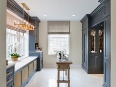 2014 DC Design House - contemporary - kitchen - dc metro - DC Design House What a pretty color: Wood-Mode's new vintage navy finish Pantry Design, Cabinet Design, Kitchen Design, Kitchen Interior, Wood Mode, Cocinas Kitchen, Transitional House, Butler Pantry, A Boutique