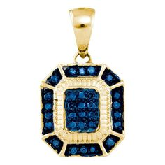 10kt Yellow Gold Womens Round Blue Colored Diamond Rectangle Cluster Fashion Pendant 1/6 Cttw