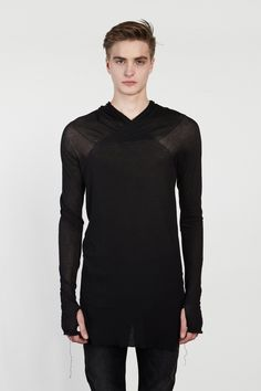 NICOLAS ANDREAS TARALIS Raw Edge Hooded T-Shirt / Patron of the New.